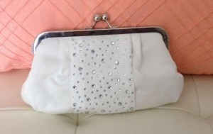 White with Crystals Or Rehearsal Clutch Bridal Handbag