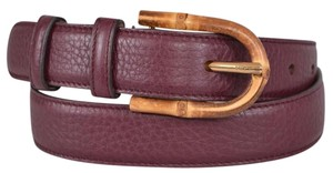 Gucci New Gucci Women's 322954 Burgundy Leather Bamboo Buckle Belt 34 85