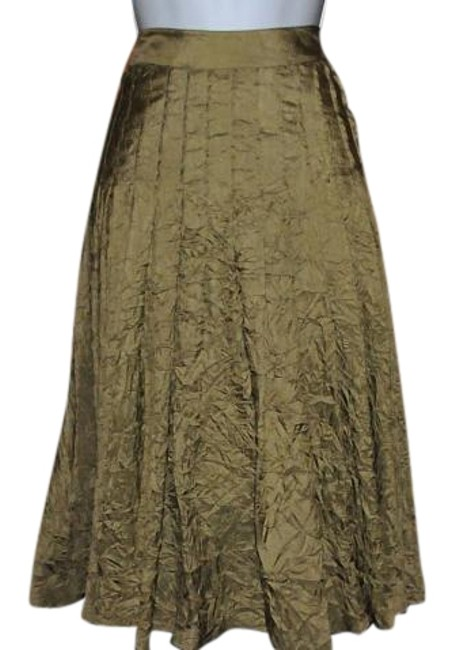 Charles Nolan Silk Classy New Never Worn Crinkle Fabric Skirt Gold