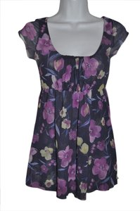Sweet Pea by Stacy Frati Double Mesh Floral Top Purple