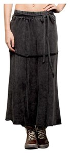 Other Free People Destroyed Bohemian Burnout Gypsy Skirt Black