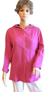 Chico's Hoodie Lightweight Cotton Deep Rose Jacket