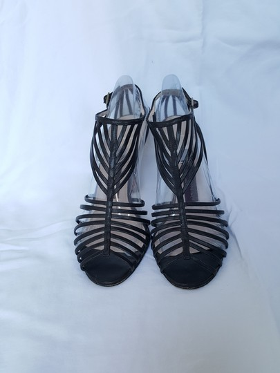 RIckard Shah Caged Style Cage Strappy Stiletto T-strap Black Pumps