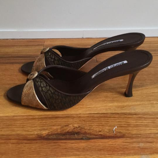 Manolo Blahnik Brown, woven and snake print Formal