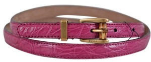 Gucci New Gucci Women's 339065 Pink Alligator Skinny Bamboo Buckle Belt 34 85