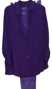 Coldwater Creek 3pc Pants Set Top purple