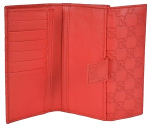 Gucci New Gucci 143389 Women's Coral Red Leather GG Guccissima Logo Clutch Wallet