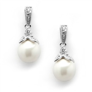 Intro Price: Classic Pearl Drop Antique Silver Crystal Pave Bridal Earrings