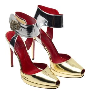 Cesare Paciotti Silver and Gold Pumps