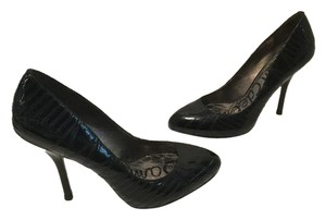 Sam Edelman Ridges Internal Platform Stiletto Heels Black patent leather topstitching Pumps