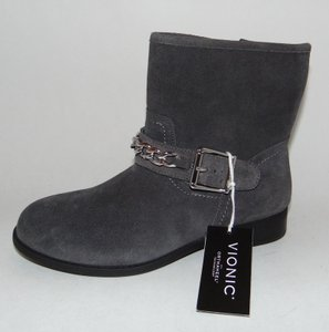 Vionic Orthaheel Cresent Ankle Chain Trim Gray Boots