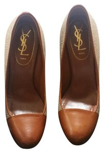 Saint Laurent Yls Tributepump Tan Beige Platforms