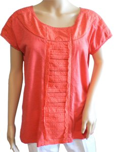 Lucky Brand Eyelet Lace Scoop Neck T Shirt Bright Coral