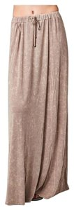 Other Bohemian Free People Burnout Relaxed Fit Long Maxi Skirt Dark Beige