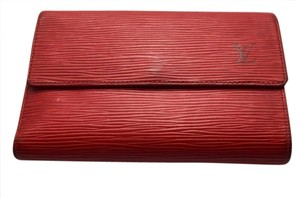 Louis Vuitton 100% Authentic Louis Vuitton Cherry Red Epi Porto Torre Tri-fold Wallet with Coin Purse