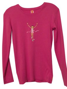 lucy 'Runner Girl' Workout or Casual Cotton Long Sleeve Knit Top Tee Size S