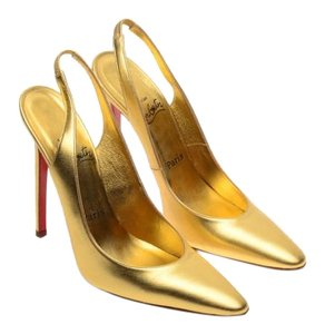 Christian Louboutin Slingback Leather Gold Pumps