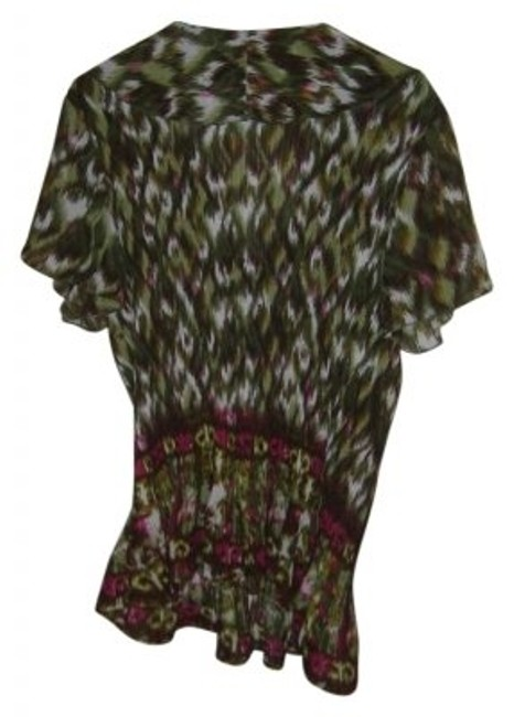 Dress Barn Top Green, brown, white, red peacock pattern