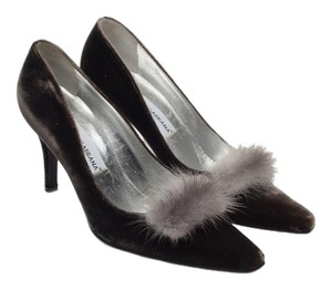 Dolce&Gabbana Fur Mink Detail Pump Gray Pumps
