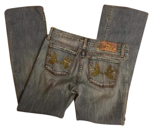 "Item - Medium Wash Denim Jeans-bird/Rhinestone Pockets-28"" Inseam Boot Cut Jeans Size 29 (6, M)"