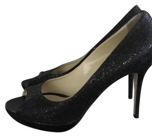 Jimmy Choo Glitter Fabric Black Pumps