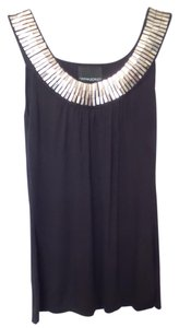 Cynthia Rowley Silver Necklace Knit Small Top Black