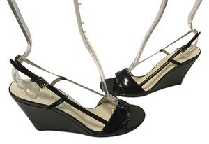 Prada Slingback Italian $20 OFF Black patent all leather open toe E36 Wedges