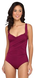 Badgley Mischka Badgley Mischka Solids Adjustable Draped Front Maillot