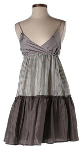 Ella Moss short dress Grey Silk Tiered Striped on Tradesy