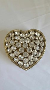 Gold with White Crystals Heart Jewelry Box Decoration