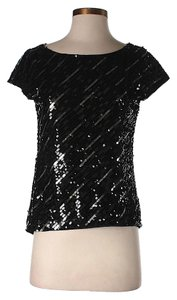 Alice + Olivia Silk Sequin Top Black