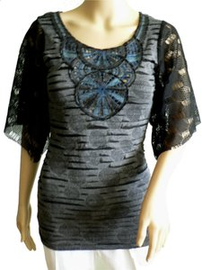 Luluman Figure Flattering Comfortable Knit Pull-over Cut-out Top Black/Grey with a touch of Blue