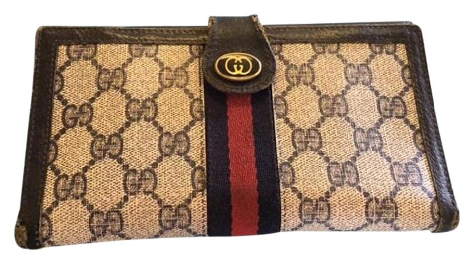2a55e87b21fd Gucci Vintage Classic Ladies Wallet Navy Gg Monogram W/Leather ...
