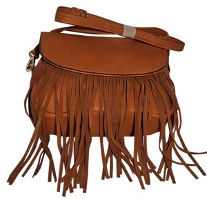 VIETA Fashion Fringe Boho Tan Faux Leather Cross Body Bag