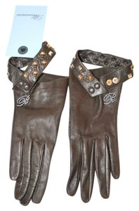 Blumarine BLUMARINE ITALY NEW BROWN LEATHER STUDS CRYSTALS WOMEN GLOVES