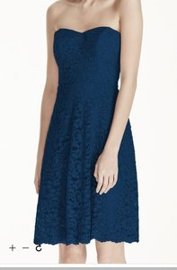 Marine (Navy) Strapless Lace Dress With Full Skirt F16010 Dress