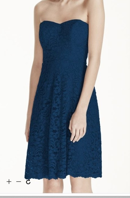 Item - Marine (Navy) Lace Strapless Full Skirt Formal Bridesmaid/Mob Dress Size 4 (S)