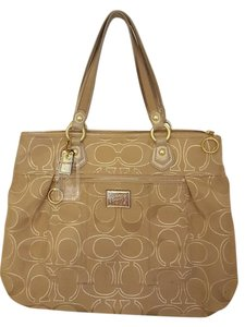 Coach Poppy Travel Satchel in Beige and gold