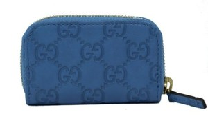 Gucci Gucci 324801 Gg Guccissima Mini Zip Around Coin Wallet Blue