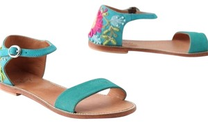 Anthropology Miss Albright Rosette Anthropologie Beaded Teal Beaded/Embroidered Sandals