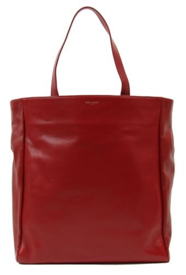 85f3fa3002be Saint Laurent Ysl Reversible Shop Display Red Leather Tote - Tradesy