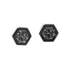 Tory Burch Tory Burch Hex Logo Stud Earrings Silver
