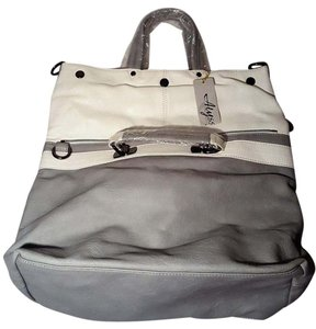 Alyssa Weekender Messenger Faux Leather White and Grey Travel Bag