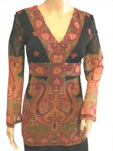 INC International Concepts Hippy Boho Lined With Sheer Sleeves Tunic