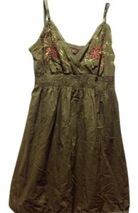 short dress Green, with embroidering multi colors Boutique Green W/empire on Tradesy