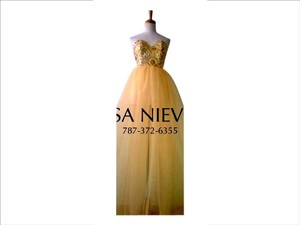 Lisa Nieves Prom Ball Gown Evening Party Sequin Sweetheart Tulle Yellow Gold Golden Dress