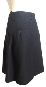 Junya Watanabe Wool A-line Buckle Comme Des Garcons Pleated Skirt Black