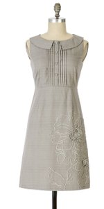 Anthropologie Gray Embellished Floral Tabitha Dress