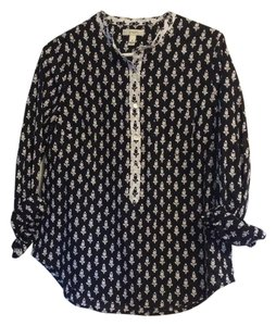 J.Crew Popover Blouse Button Down Shirt Black & White