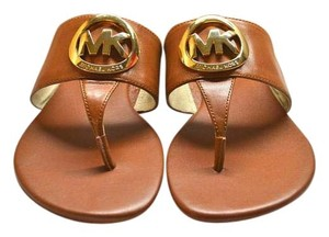 Michael Kors Luggage Leather Mk Brown Sandals